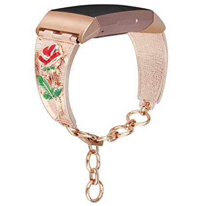 somoder Flower Bands Compatible with Fitbit Charge 3, Vintage Chain Jewelry  Cuff Bracelet Replacement for Fitbit Charge 3 Bands [Rose Floral Version]