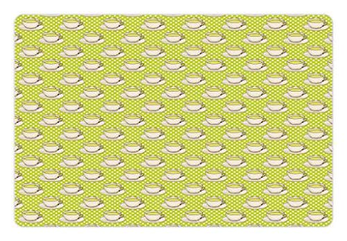 Mat Food Water, Vintage Glasses Coffee Cups on Polka Dots Backdrop Kitchen Illustration, Rectangle Non-Slip Rubber Mat Dogs Cats, Yellow Green Ivory ()