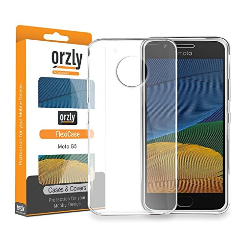 MOTO G5 Case, Orzly FlexiCase for Motorola Moto G5 2017 Model - CLEAR Protective Skin for New 2017 Moto-G5