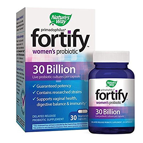 Nature's Way Primadophilus Fortify Women's Probiotic, 30 Billion Active Cultures, Guaranteed Potency, Researched Strains, Delayed Release, 30 Vegetarian Capsules, Gluten-Free (pack of 3)