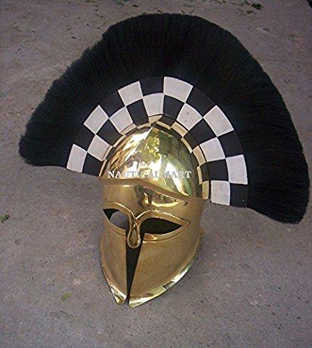 NAUTICALMART Medieval Brass Corinthian Helmet- Black Transverse Plume