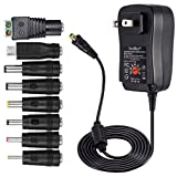 [Upgraded Version] SoulBay 30W Universal AC/DC Adapter Switching Power Supply with 8 Selectable Adapter Tips & Micro USB Plug, for 3V to 12V Household Electronics and LED Strip - 2000mA Max