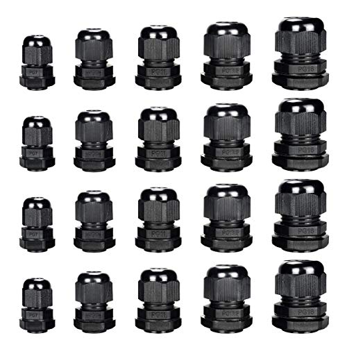 Cable Gland - Plastic Waterproof Cable Connector Adjustable 0.12 to 0.55 inch Cable, PG7, PG9, PG11, PG13.5, PG16, Pack of 20 by MoArmor