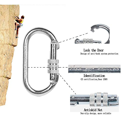 25KN Rock Climbing Equipment Hook Flower Sea9 Climb Oval Quick Links Steel Buckle Auto Locking Caving Screw Locking Gate Carabiner (Silver)