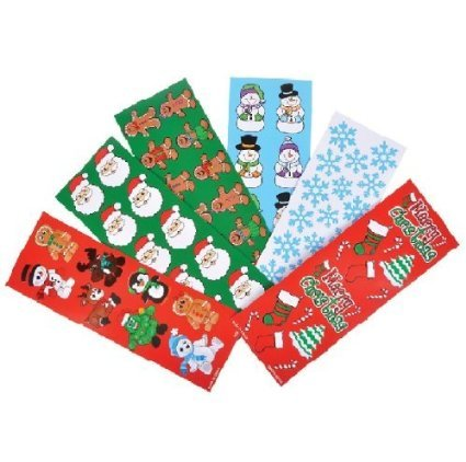 Santa Claus Candy Cane (CHRISTMAS HOLIDAY Sticker Assortment~ 200 sheets ~ Gingerbread Man, Santa, Snowflake, Penguin, Christmas Tree, Candy Cane, Snowman,Stocking ~ favors goody bags Holiday Cards ~)