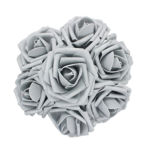 AnParty 25pcs Artificial Flower?Real Touch Artificial Foam Roses Decoration DIY for Wedding Bridesmaid Bridal Bouquet Centerpieces Party (25, Lo Gray)