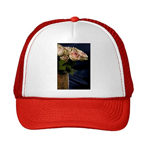 Speedy Pros Flowers Roses Beautiful Bouquet Interior Adjustable High Profile Trucker Hat Cap (Red Hat Rose Bouquet)