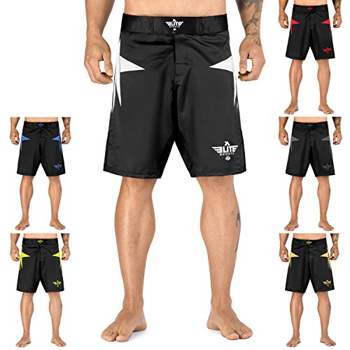 Elite Sports Men's New Item Sublimation Series Fight Shorts - UFC, MMA, BJJ, Muay Thai, WOD, No-Gi, Kickboxing, Boxing Shorts, White, Large