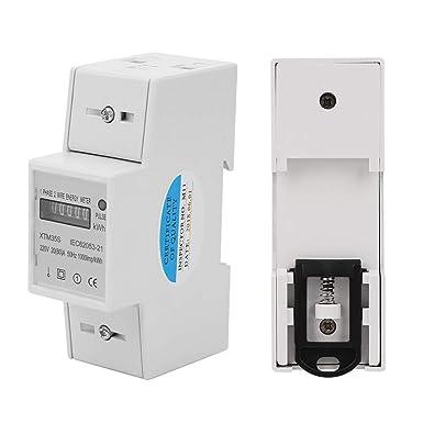 40 a 220 V TOPINCN Medidor El/éctrico Digital Monof/ásico de 2 Cables 2p Tipo de Riel DIN Medidor Kwh Electr/ónico Kilovatio Hora y Hora 10