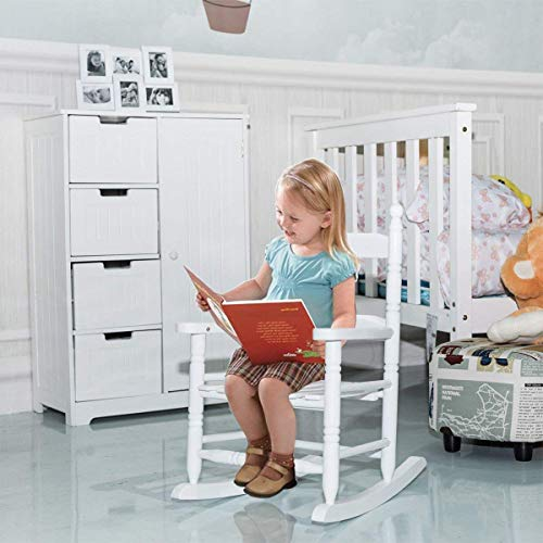 Costzon Kids Rocking Chair, Wooden Classic Porch Rocker, Double Slat Back Rocking Chair (White)
