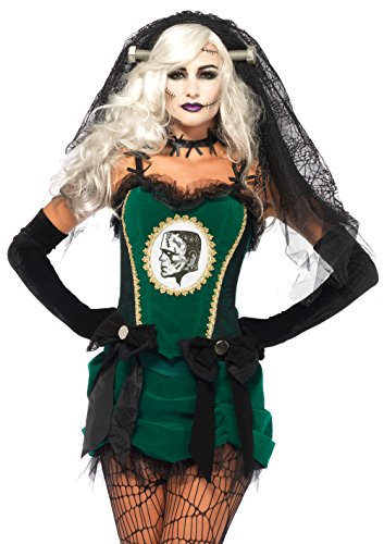 Leg Avenue Women's 4 Piece Deluxe Bride Of Frankenstein Costume, Black/Green, -