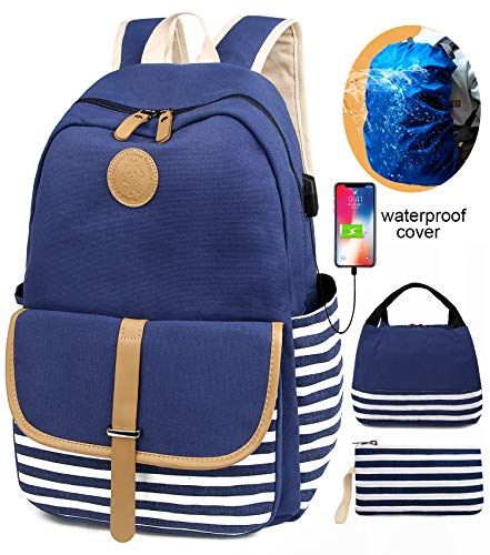 SCIONE School Backpacks for Teen Girls with USB Charging Port and Backpack Rain Cover Lightweight Canvas Stripe Backpack Cute Teen Bookpacks Set Bookbags+Insulated Lunch Bag+Pouch 3 in 1