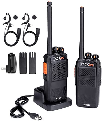 Walkie Talkies, Tacklife MTR01 Advanced Long Range Two-Way Radio with Rechargeable 1300MAh Li-ion Battery, UHF 400-470MHz Transceiver, 16 Channels Using, Earphone and Charger Included – 2 Pcs