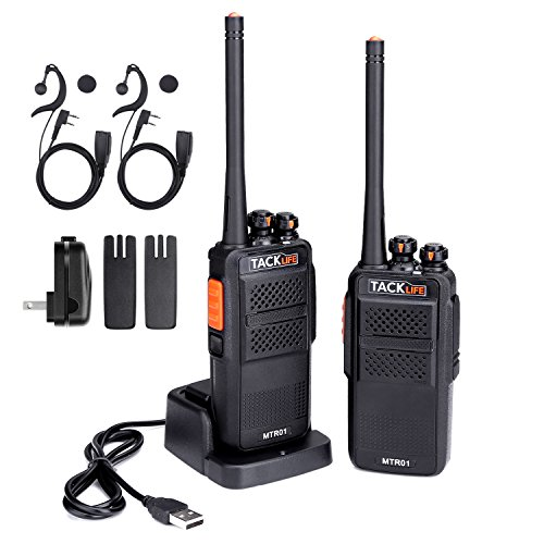 Walkie Talkies, Tacklife MTR01 Advanced Long Range Two-Way Radio with Rechargeable 1300MAh Li-ion Battery, UHF 400-470MHz Transceiver, 16 Channels Using, Earphone and Charger Included - 2 Pcs