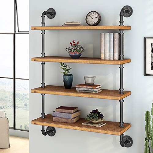 LITTLE TREE 4 Tier Wall Pipe Shelf, Industrial Hollowed Out Solid Wood Floating Shelving Unit Book Shelf for Home Office Storage Organizer, Brown (4-Tier)