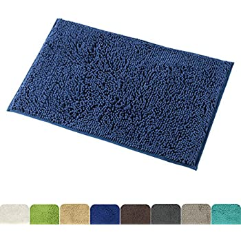 Mayshine 20x32 Inch Non Slip Bathroom Rugs Shag Shower Mat Machine Washable Bath Mat With Water Absorbent Soft Microfibers Of Navy Blue