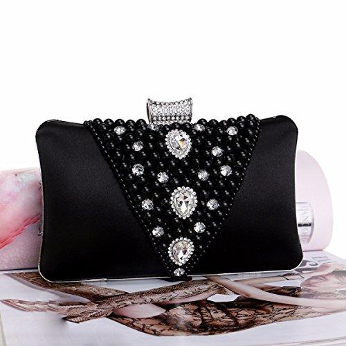 de banquete Black Pearl Black cena mano bordado Estados bolso los bolso vestido Europa de Unidos XJTNLB Lady noche Bag y de qRwPT00
