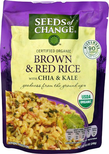 Seeds of Change Organic Brown & Red Rice with Chia & Kale MICROWAVE POUCH -- 8.5 oz - 2PC