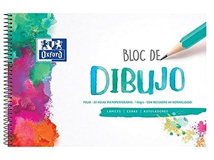 Oxford 400075778 Bloc De Dibujo Con Recuadro Microperforado Tamaño Folio