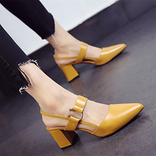 unie Chaussures Boucle D'Été Mot Talon Talons Une SHOESHAOGE Avec De Couleur High Pointues Mode La Sandales Heels Grossier Creux RwAq8Ud5xd