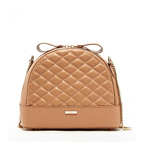 SUSU Crossbody Bags For Women Quilted Handbag Lambskin Designer Handbags Cute Genuine Leather Medium Size Tan Cross body Purse It Bag Gold Chain Light Neutral Color Cross Over Shoulder Womens - Quilted Tan Bag