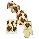 7-Piece 100% Cotton Kitchen Set, 2 Kitchen Towels, 1 Oven Mitt, 2 Pot Holders, 2 Dishcloths (Fresh Picked Apples)