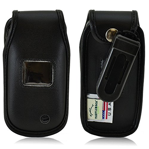 Turtleback Fitted Case Made for LG Envoy 3 III UN170 Flip Phone Black Leather Rotating Removable Belt Clip Made in USA