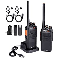 Tacklife MTR01 Advanced Two-Way Radio with Rechargeable 1300MAh Li-ion Battery UHF 400-470MHz Transceiver Earphone Long Working Distance 16 Channels Walkie Talkie | 2 Pcs