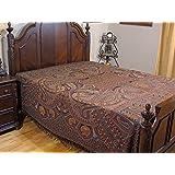 NovaHaat Brown, Burgundy, Tangerine, Black and Taupe REVERSIBLE 100% Wool Nilofar (Lotus) Woven Kashmir Bedspread - Queen 108 Inch x 90 Inch ~ Also Use as Throw Blanket