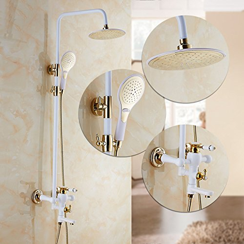 D GFEI Shower set with full copper faucet   white golden bath bathroom shower shower shower faucet   waterfall shower,I