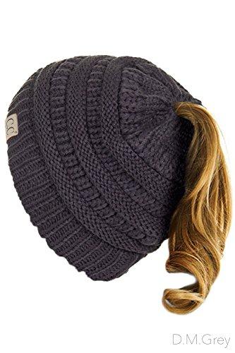 ScarvesMe C.C BeanieTail Kids Children's Soft Ponytail Messy Bun Beanie Solid Ribbed Hat (Dark Melange Grey)
