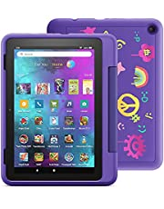"""Introducing Fire HD 8 Kids Pro tablet, 8"""" HD, ages 6–12, with 2-year warranty, thousands of apps, games, books and more included for 1 year, and kid-friendly case – Doodle"""