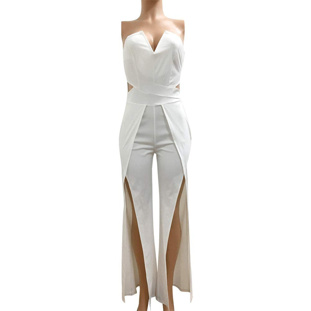 Womens Off Shoulder Sleeveless Jumpsuit - Elegant Cocktail Wide Split Leg Strapless One Piece Rompers Playsuit Black