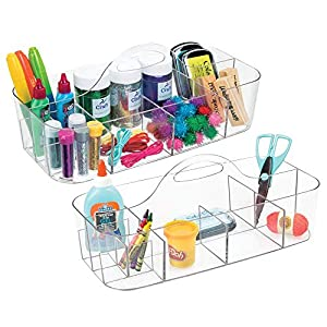 mDesign Plastic Portable Craft Storage Organizer Caddy Tote, Divided Basket Bin for Craft, Sewing, Art Supplies – Holds Paint Brushes, Colored Pencils, Stickers, Glue – Extra Large, 2 Pack – Clear