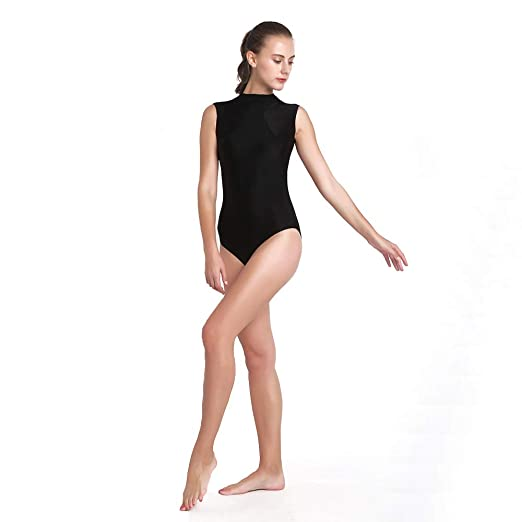 292a4a12bddc Amazon.com: Women's Lycra Spandex Mock-Turtleneck Neck Sleeveless Open Back  Yoga Ballet Dance Leotard: Clothing
