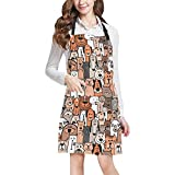 InterestPrint Funny Dogs and Cats Art All Over Print Adjustable Bib Apron with Pockets - Commercial Restaurant and Home Kitchen Apron for Women Men, Plus Size