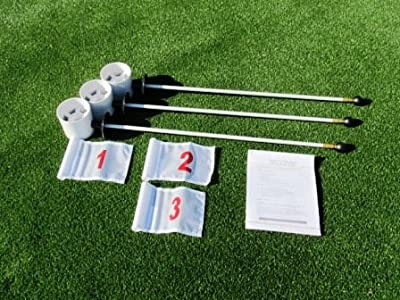 "Golf Practice Putting Green - Natural or Synthetic - Deluxe Accessory Kit - (3) Bright White 4"" Deep Plastic Regulation Cups + (1) White Jr Flag with a Red #1,(1) White Jr Flag with a Red #2, (1) White Jr Flag with a Red #3 + (3) 30"" White Fiberglass Pin"