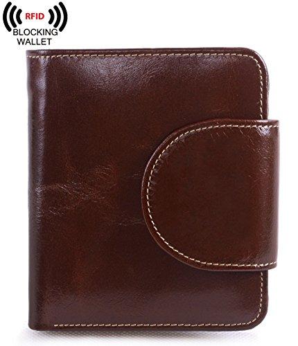 Leather Tri Fold Billfold (AINIMOER Women's Small Billfold Genuine Leather Tri-Fold Wallet with Zipper Pocket(Coffee))