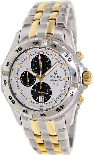 (Bulova Men's Marine Star 98B170 Two-Tone Stainless-Steel Quartz Watch with White Dial )
