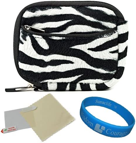 Zebra VanGoddy Mini Glove Sleeve Pouch Case for SVP Aqua 5800 Waterproof Digital Cameras and Screen Protector