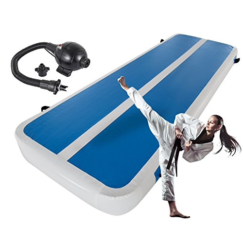 BestEquip Inflatable Air Track Double-Wall Fabric Air Tumbling Track with Electric Air Pump Air Floor Gymnastics Training for Home, Cheerleading, Beach, Park and Water Use (1x3M)