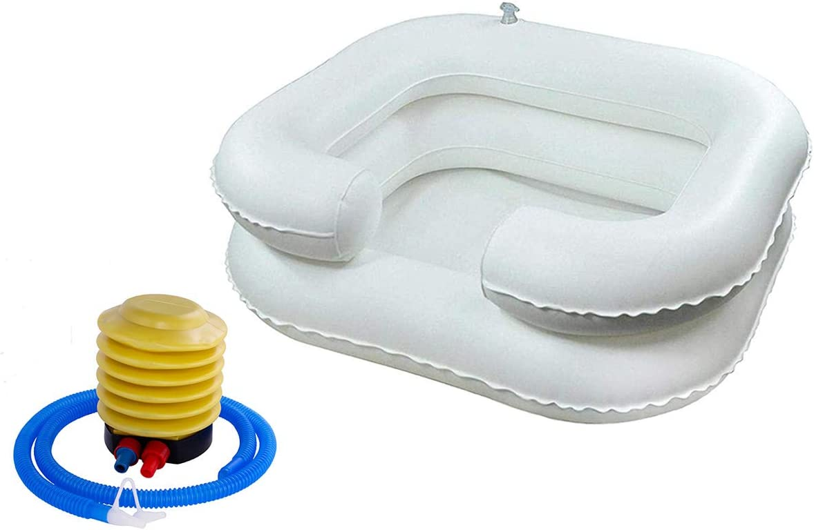Portable Shampoo Bowl with Foot Pump – Inflatable Hair Washing Basin for Bedridden and Disabled Care Features Dual-Chamber Design with Built-in Neck Support for Comfort