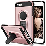 Vofolen Kickstand Case for iPhone SE Case iPhone 5S Case Foldable Holder Stand Protective Armor Hybrid Hard Shell Dual layer Shockproof Bumper Cover Fit Magnetic Car Mount for iPhone SE 5S 5 Rose Gold