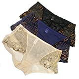Theresahay Women Transparent Underwear Briefs Sexy Panties Pack of 3