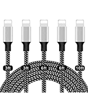 Phone Charger, ShereshTECH , Cable pack of 5 (3/3/6/6/10FT) Charging USB Syncing Data Nylon fast charging Braided with Metal Connector Compatible iPhone 11/Pro/Max/X/XS/XR/XS Max/8/Plus/7/7 Plus/6/6S/6 Plus