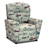 Cheap Childrens Recliner with Cup Holders, Vintage Airplanes Fabric Upholstered Child's Reclining Armchair, Kids Furniture Seating That Reclines, Fun Child Bedroom Chair For Boys and Girls Decor, Easy Care