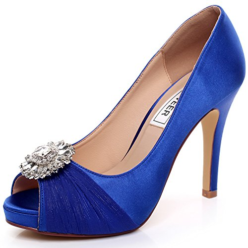 Luxveer royal blue wedding shoes combining satin lace and rhinestone luxveer royal blue wedding shoes combining satin lace and rhinestone brooch high heel 45inch peep toe eur35 buy online in oman junglespirit Image collections