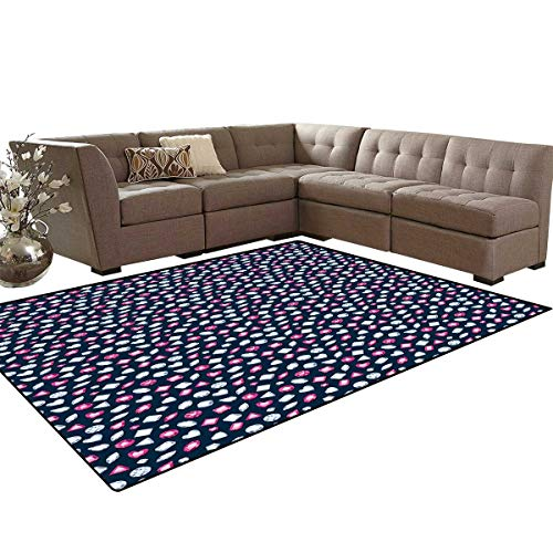 Diamonds Door Mats for Inside Round Marquise Square and Heart Shaped Crystals with Ruby Arrangement Bath Mat 5'x6' Dark Blue Pink -