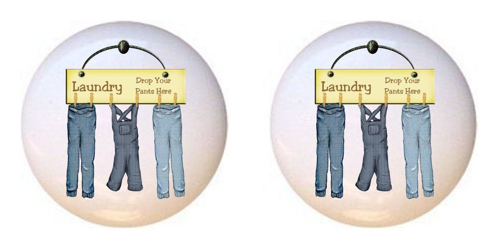 SET OF 2 KNOBS - Laundry Drop Your Pants Here - Dirty Laundry - DECORATIVE Glossy CERAMIC Cupboard Cabinet PULLS Dresser Drawer KNOBS