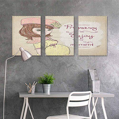 HOMEDD Wall Painting Prints Sticker,Quotes Pregnancy Enjoy Every Single Moment Clipart Pregnant Woman Dress Hat,Modern Decorative Artwork 3 Panels,16x31inchx3pcs Eggshell Pink Multicolor